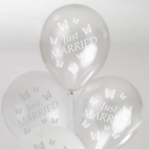 Elegant Butterfly Just Married Balloons - White & Silver (8)